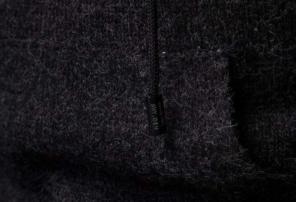 ARTFFEL Mens Casual Slim Long Sleeve Plain Knit Hooded Pullover Sweater