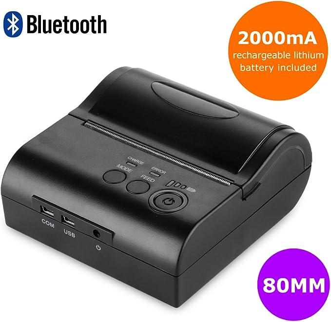 Impresora 80mm inalámbrica Bluetooth portátil térmica de recibos ...