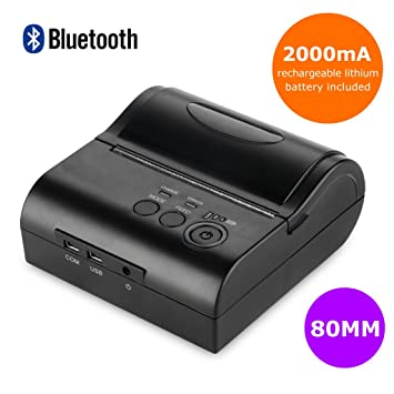 Floureon ZJ-8001LD 80MM POS Impresora Bluetooth Inalámbrica Térmica de Recibos ESC Mini USB Portátil, Negro