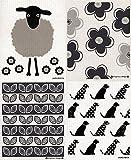 Swedish Dishcloth, Set of 4 Black & Grey (DD)