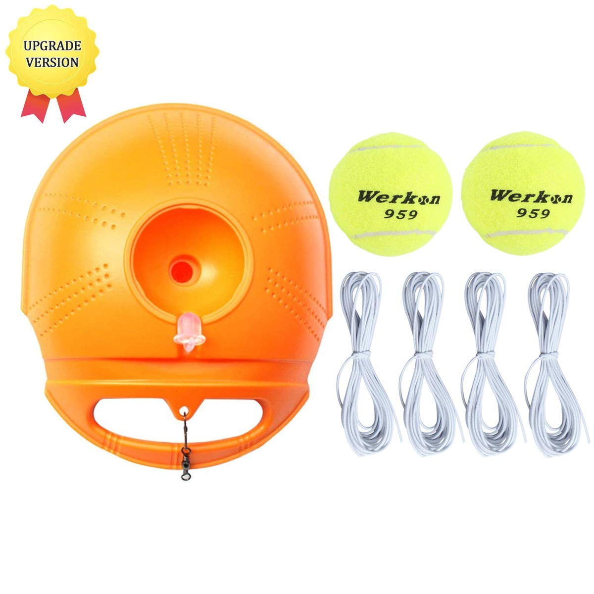 YVO Solo Tennis Trainer Set Rebound Ball Power Base Baseboard Tennis Ball Back Trainer Self-Study Training Aid Tool Practice Equipment with Replacement Ball & Elastic String for Beginner