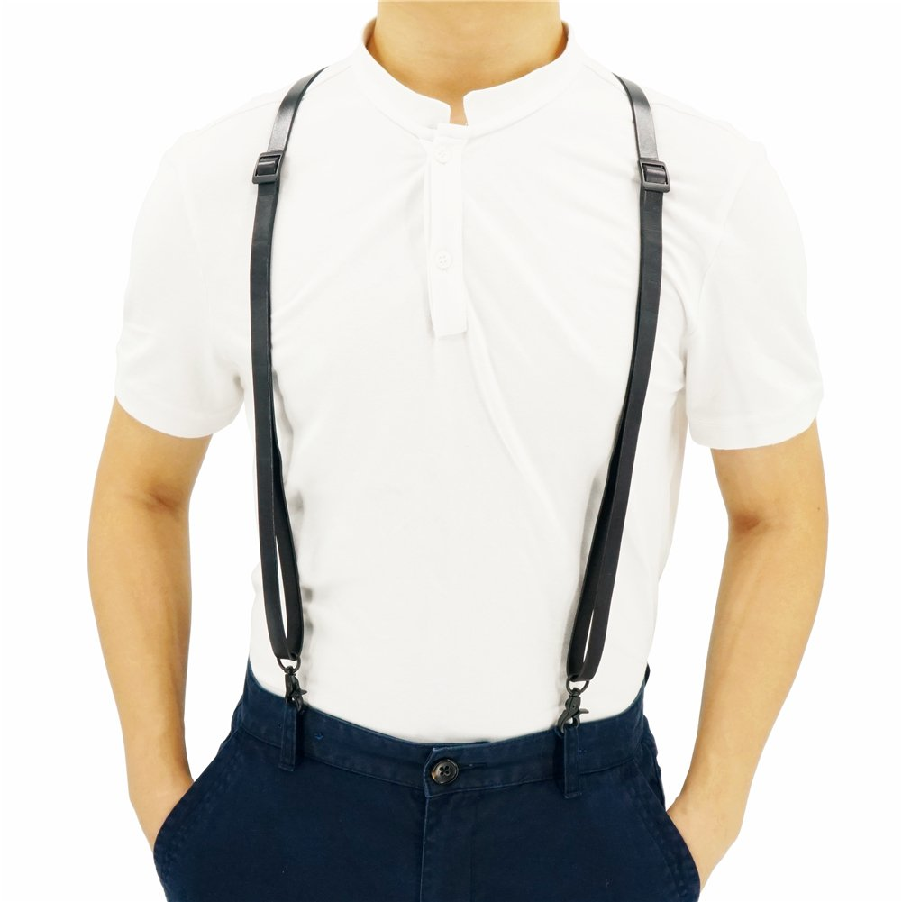0.6'' Wide Full-Grain Leather Thick Black Suspenders in British Style with Vintage Clips, Wedding Suspenders
