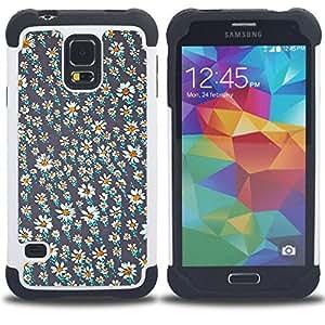 """SAMSUNG Galaxy S5 V / i9600 / SM-G900 - 3 en 1 impreso colorido de Altas Prestaciones PC Funda chaqueta Negro cubierta gel silicona suave (Papel pintado de la margarita Gris Blanco Verano"""")"""