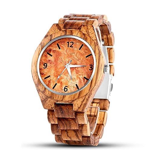 Reloj de Madera para Hombres y Mujeres, Pulsera de Cuarzo para Mujer, con Pulsera de Madera, Calendario, Fecha, Madera, Reloj, Madera Natural.
