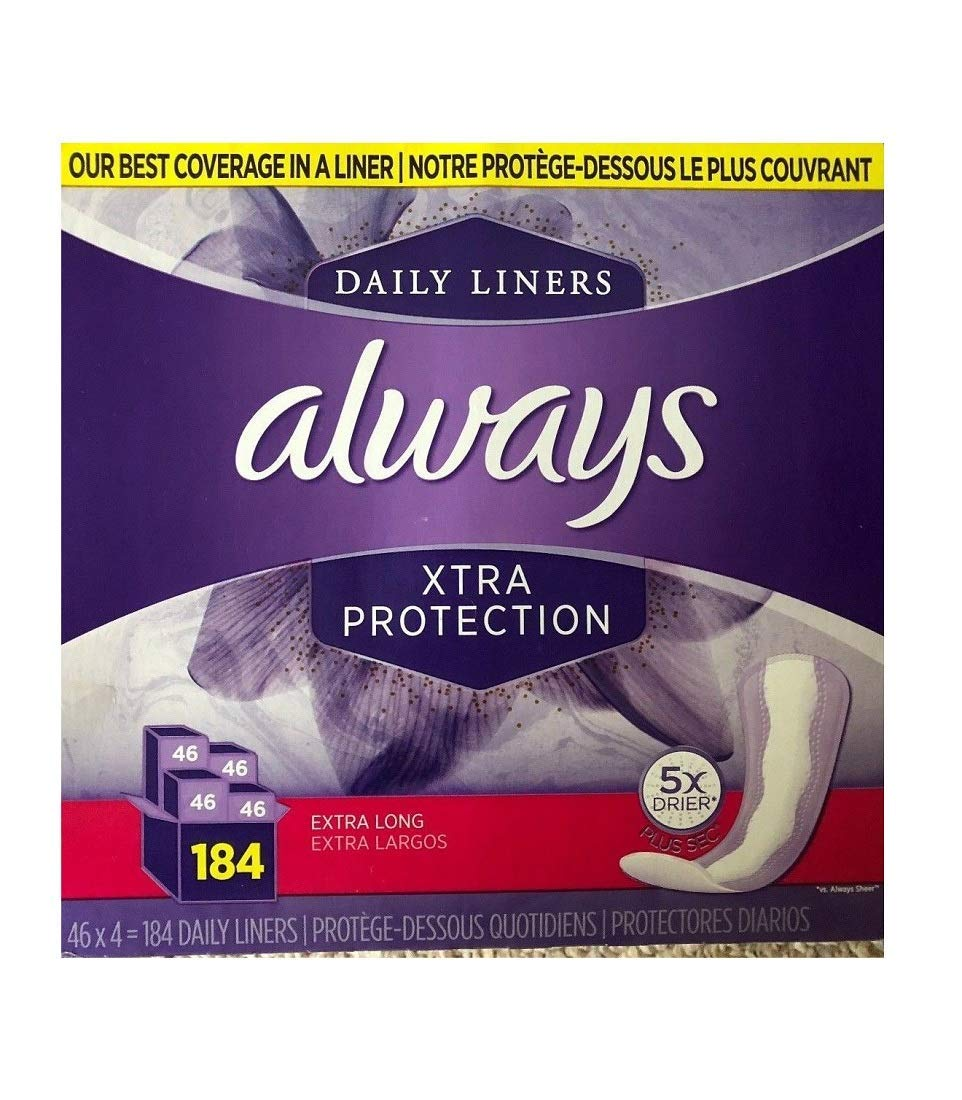 ALWAYS Daily Liners Xtra Protection 5X Drier Plus sec, Extra Long, 46Count (Pack of 4) by Always