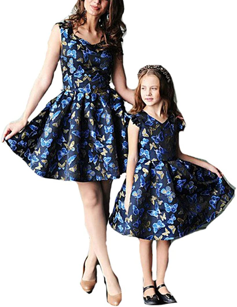 One Persent Mother Daughter Family Matching Baby Girl Dress Butterfly Print V Neck Summer Mini Dresses Outfits Clothes