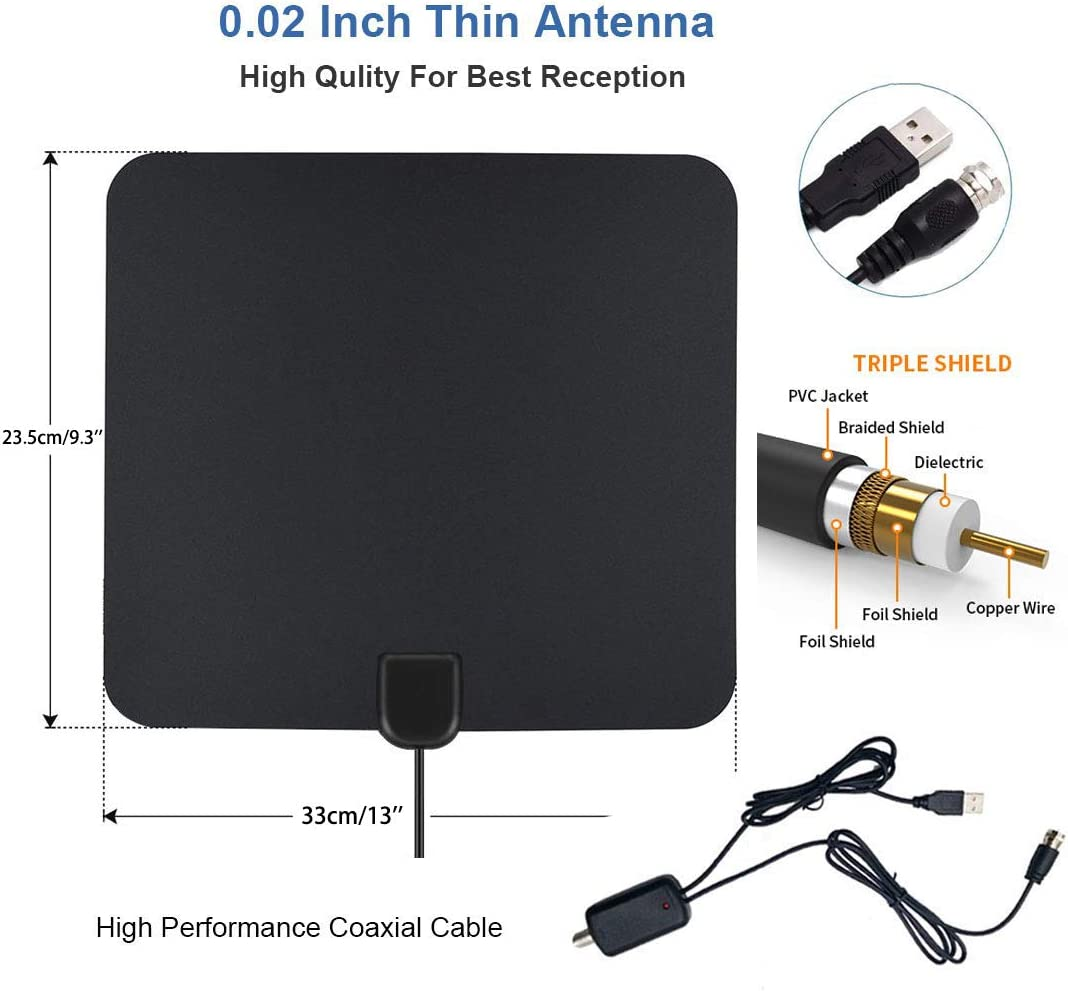 Indoor TV Antenna with Free 4K 1080P HD VHF UHF Local Channels MEGAFEIS TV Antenna 80 Miles Range with Signal Amplifier Amplified Digital HDTV Antenna 17ft Coax Cable.
