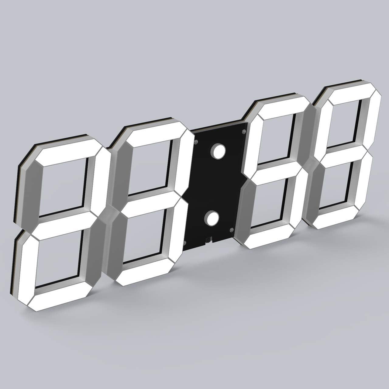 CHKOSDA 3D Digital Wall Clock, 6 LED Numbers Countdown Clock, Remote Control, Ultra-Thin Design, Large Calendar, Auto Dimmer 8-Level Adjustable Brightness Office Clock Black Shell, White