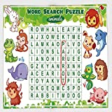Cotton Microfiber Hand Towel,Word Search Puzzle,Educational Game for Kids Decorated with Cute Animals Worksheet Print,Multicolor,for Kids, Teens, and Adults,One Side Printing