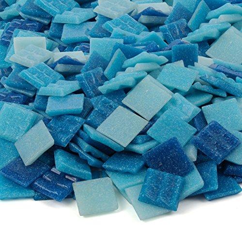 Milltown Merchants™ Light Blue Mosaic Tiles - Bulk Mosaic Tile Assortment - 3/4 Inch (20mm) Mixed Colors Venetian Glass Tile - 3 Pound (48 oz) Craft and Backsplash Tile