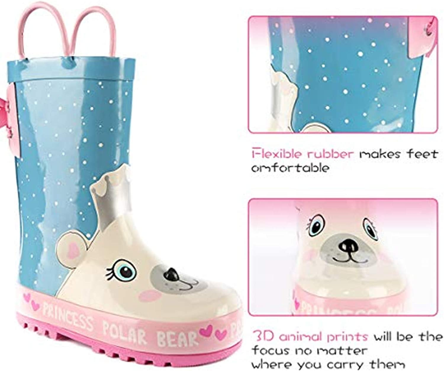 SHOFORT Kids Rain Boots Girls Boys Toddler Rainboots Rubber Rain Shoes Animal Printed,Easy-On Handles
