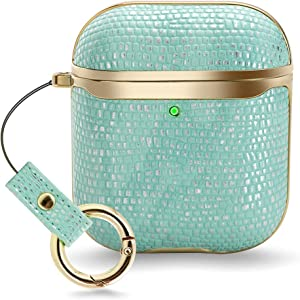 ZVE Case with Wrist Strap Compatible with Apple AirPods Case 1 & 2, 360° Protective Leather Stylish Cover Supports Wireless Charging, Case Compatiable with AirPods 1st/2nd - Mint Green