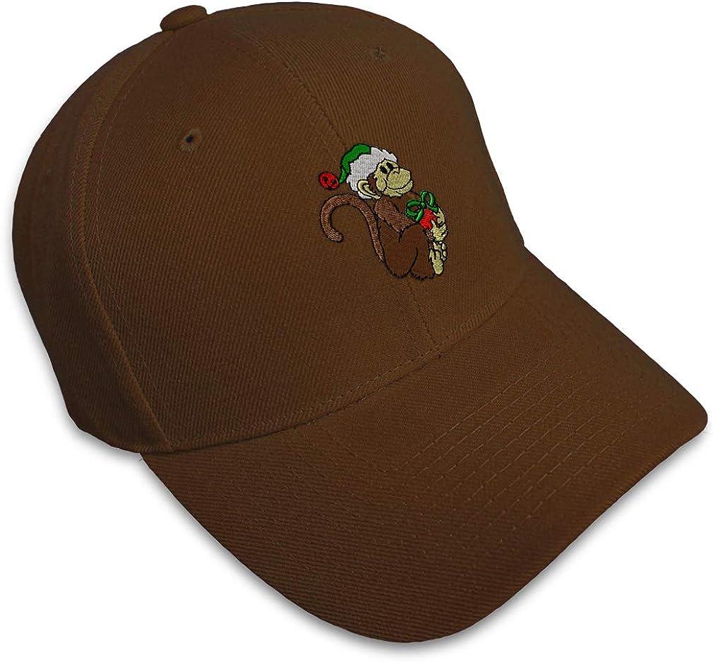 Custom Baseball Cap Christmas Monkey with Gift Embroidery Acrylic Strap Closure