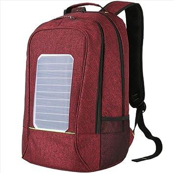 WDGT Mochila solar mochila de senderismo con energía solar Mochila con cargador solar integrado para computadoras portátiles, bordeaux, 20 inch: Amazon.es: ...