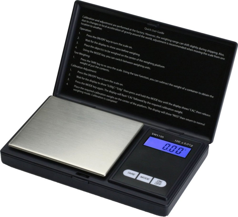 (2) Smart Weigh SWS100 Elite Series Digital Pocket Scale MZFGCB, 100g by 0.01g, Black