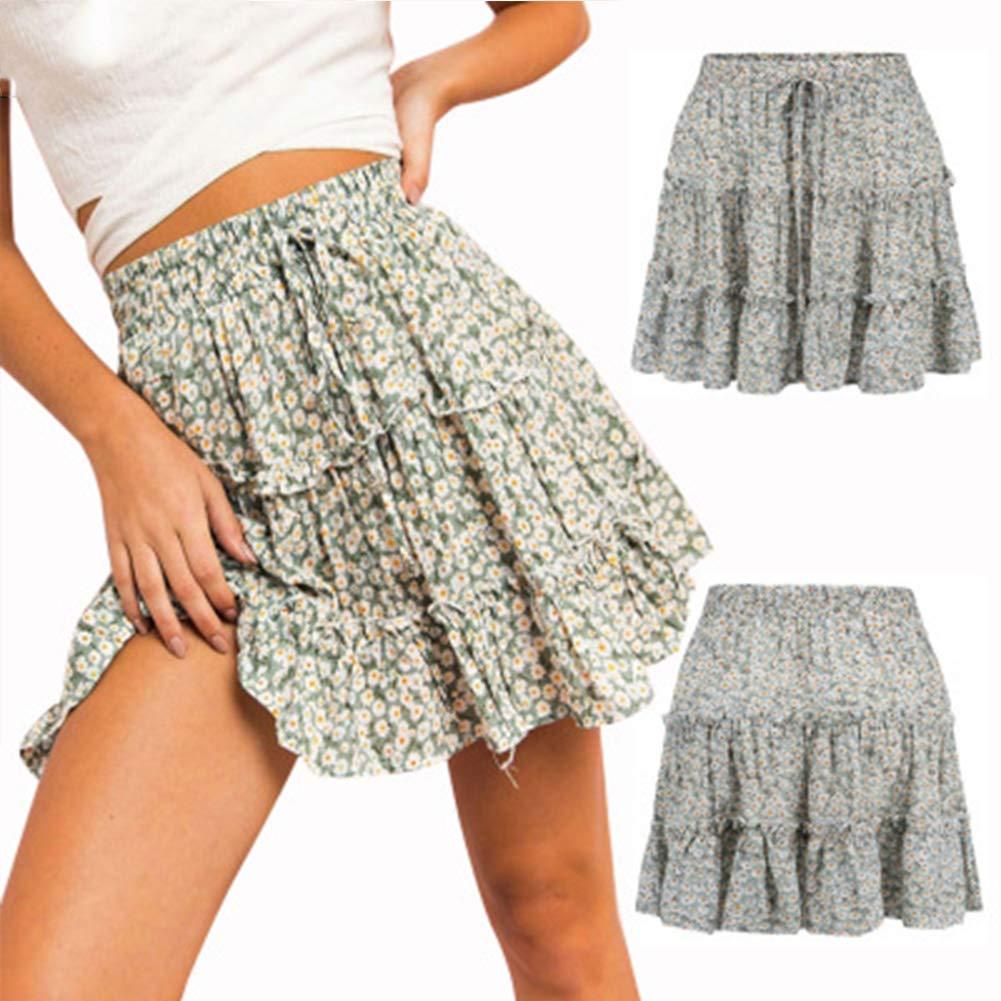 Small European and American Women's Skirts Fashion High Waist Beach Wind Broken Flower Ruffled Skirt Women