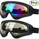 WYCTIN Cycle Goggles,2 Pack Snowboard Ski Goggles,Skate Motorcycle Bicycle Riding Goggles for Kids,Boys,Girls,Youth,Men,Women with UV 400 Protection,Windproof,Anti-Glare Lenses