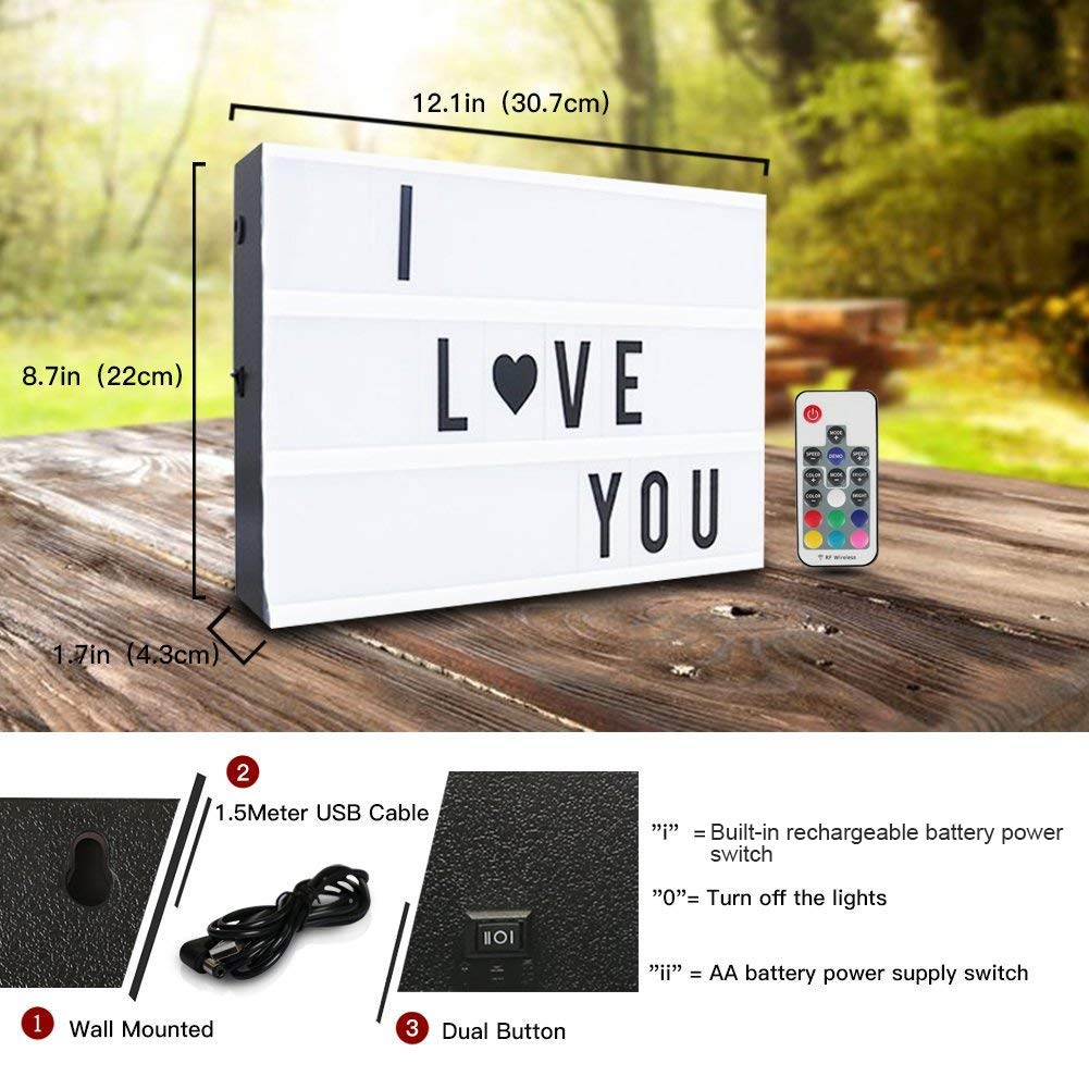 Leuchtkasten,CrazyFire A4 LED Lichtbox,Farbwechsel Lichtkasten,Leuchte Box,189 Buchstaben Symbolen mit Fernbedienung,Nachladbare Batterie,/Überraschungsgeschenk und Perfekte Urlaub Dekoration 7 Farben