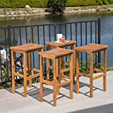 Great Deal Furniture Cassie Outdoor 30 Inch Natural Finish Acacia Wood Barstools (Set of 4)