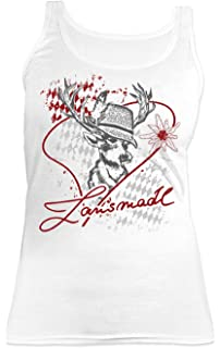 Lausmadl Trachten-Top//Tr/äger-Shirt Damen mit Hirsch//Herz-Motiv bayerischer Spruch