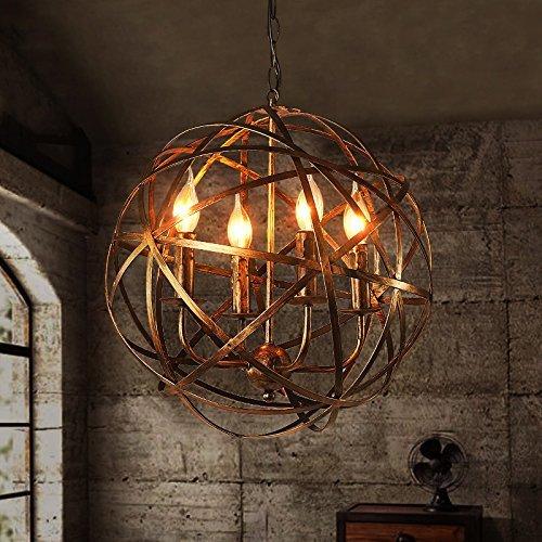 Brass Four Light Pendant (JinYuZe Retro Industrial Metal Cross Orb 4-Light Candle Chandelier Pendant Lighting Fixture, Antique Brass)