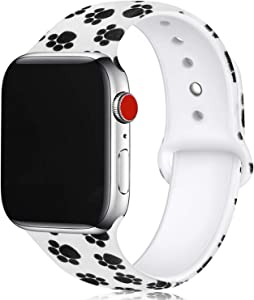 Floral Bands Compatible with Apple Watch Series 4/3/2/1,Silicone Sports Straps Printed Pattern Wristband for iWatch 38mm/42mm/40mm/44mm S/M M/L for Women/Men(Paw Print)