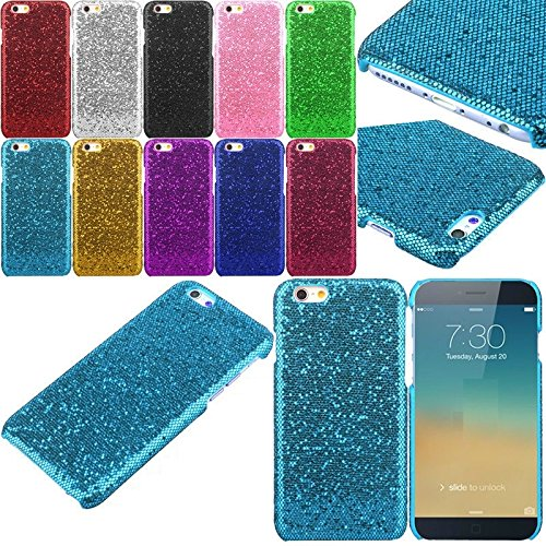 Apple iPhone SE / 5 / 5s Solid Glitter Dynamic Twinkle Variety Fashion Bling Diamond Sparkly Cute Girly Kawaii Pretty Shine Sparkle Sequin Case Back [Thin Hard Cover] By Tech Express (Sky Blue) (Iphone 4 Wall Charger Sparkly)