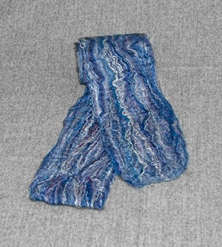 (Merino Wool and Silk Women's Felted Scarf. Color is Ocean Blue. Wavy Blues, White and Purple )