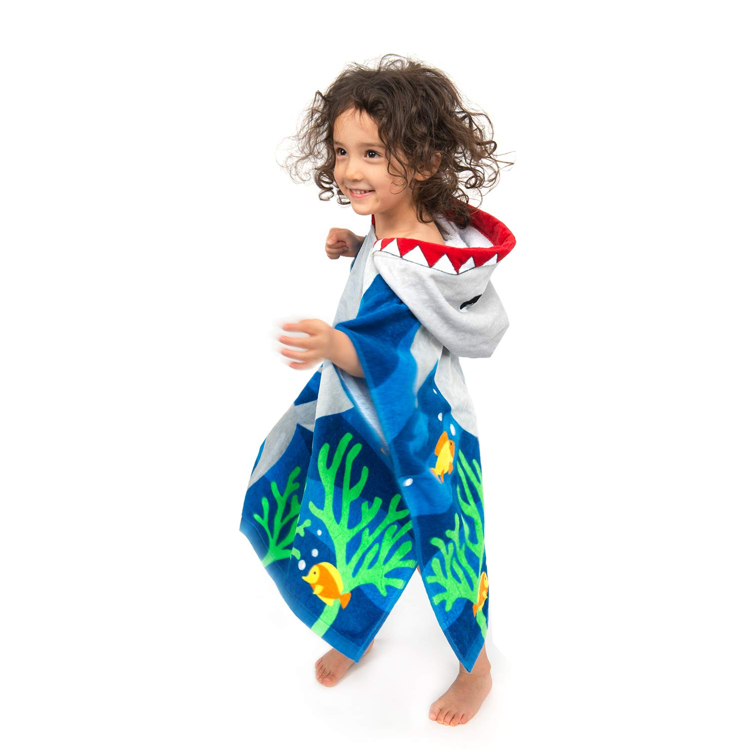 ZINGLIFE Hooded Towels for Kids Baby Boys Girls Toddlers Child Poncho Bath Towel for Beach Pool 100% Cotton Ultra Breathable Soft Enough Thick for Winter Size 24'' x 47''(Brave Shark) by ZINGLIFE (Image #2)