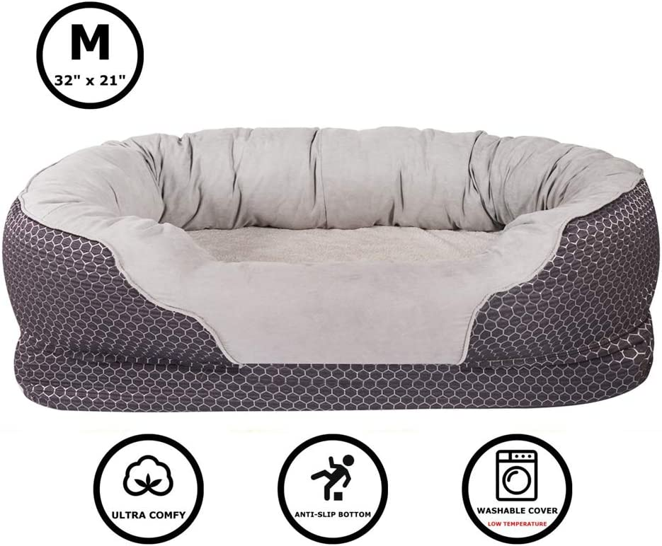 Pet Deluxe Dog And Puppy Bed Grooved Orthopedic Foam Beds With Removable Washable Cover Ultra Comfort Padded Rim Cushion Nonslip Bottom For Dogs Puppies Dark Blue Medium 32 X 21 Kitchen Dining
