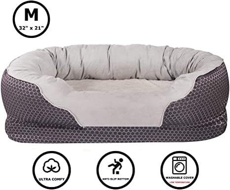 Amazon Com Pet Deluxe Dog And Puppy Bed Grooved Orthopedic Foam Beds With Removable Washable Cover Ultra Comfort Padded Rim Cushion Nonslip Bottom For Dogs Puppies Dark Blue Medium 32 X 21