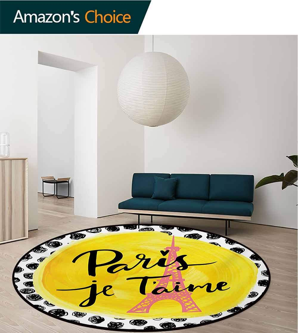 RUGSMAT Paris Non-Slip Area Rug Pad Round,Eiffel Tower with Paris I Love You Message Polka Dot Background Vintage Art Protect Floors While Securing Rug Making Vacuuming,Round-55 Inch