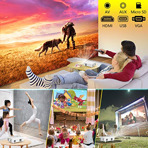 Mini Outdoor Projector, 2020 Latest 100ANSI 1080P Supported Projector for Outdoor movies, Compatible with TV Stick HDMI…