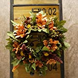 Decorative Seasonal Front Door Wreath Best Seller - Handcrafted Wreath for Outdoor Display in Fall, Winter, Spring, and Summer 13 inches (Coffee color + orange)