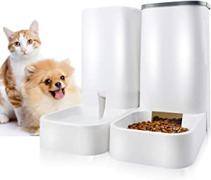 Automatic Pet Feeder and Waters Dispenser Self Dispensing Gravity Feeder - Dog Wet Food and Water Dispenser Set Jmiyav - Auto Multiple Self Cat Feeder Food Bowl Suitable for Cat Dog