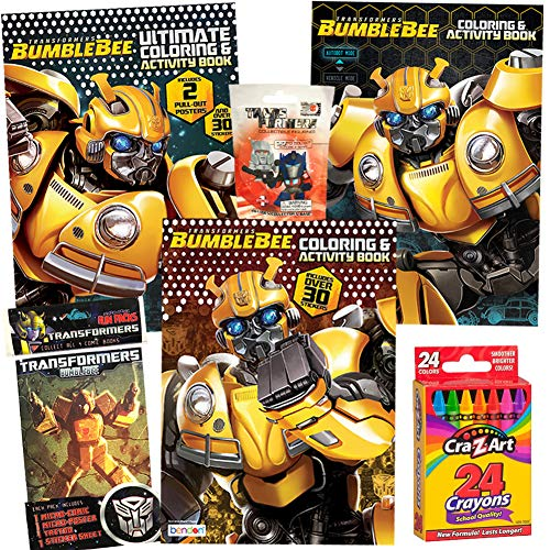 ColorBoxCrate Transformers Bumblebee Coloring Book Toy Set 6 Pack Includes 3 Transformers Activity Books, Transformers Comic, Transformers Action Figure Blind Bag, Crayons for Children Ages 3 to 8 -
