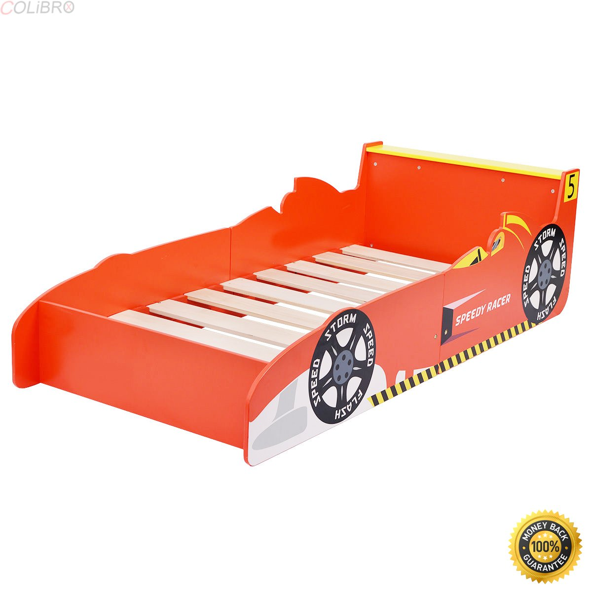 COLIBROX--Kids Race Car Bed Toddler Bed Boys Child Furniture Bedroom Red Wooden New,toddler beds for boys,cheap toddler beds,car bed twin, kids race car Toddler Bed