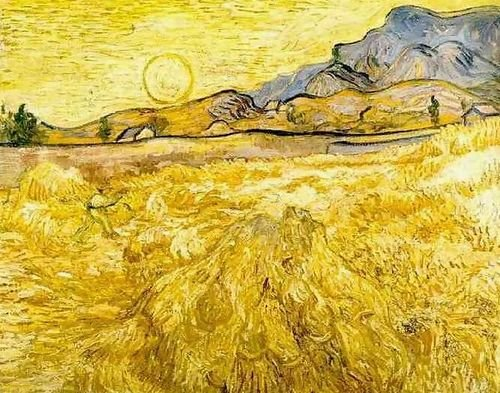 Vincent Van Gogh Wheat Field with Reaper and Sun 92x72の商品画像