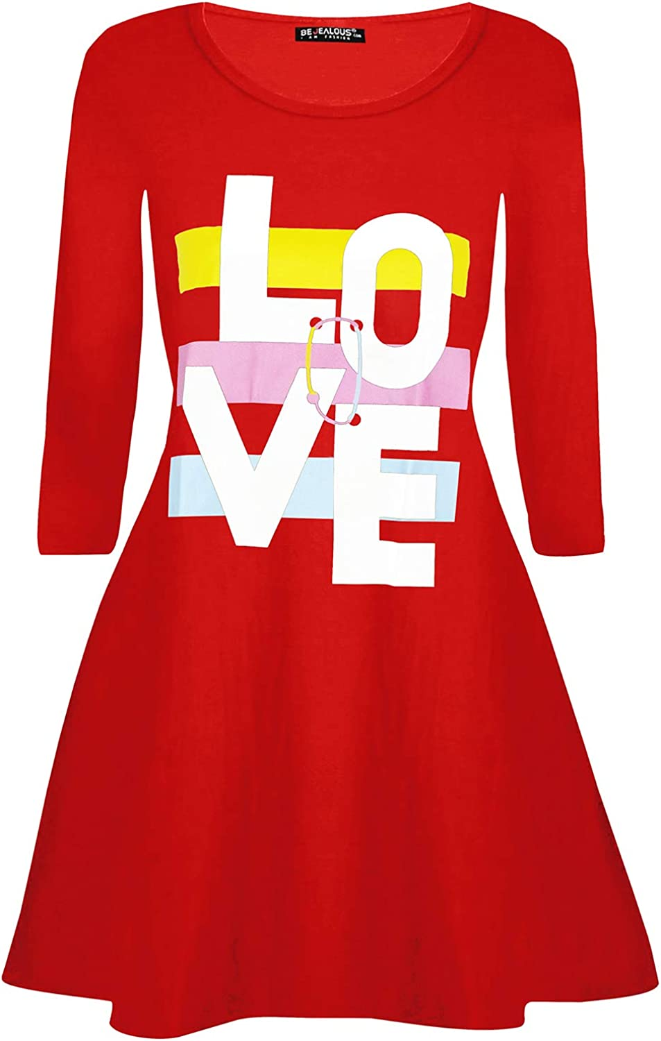Oops Outlet Ladies Womens Valentines Day Love Heart Long Sleeve Round Neck Swing Mini Dress