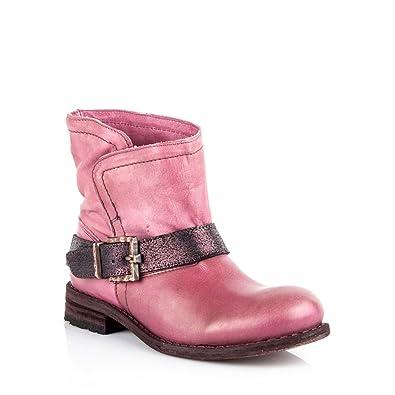 huge discount 6e8e3 a7ebf Felmini - Women Shoes - Falling in Love with King 8569 - Cowboy & Biker  Ankle Boots - Genuine Leather - Pink - EU: