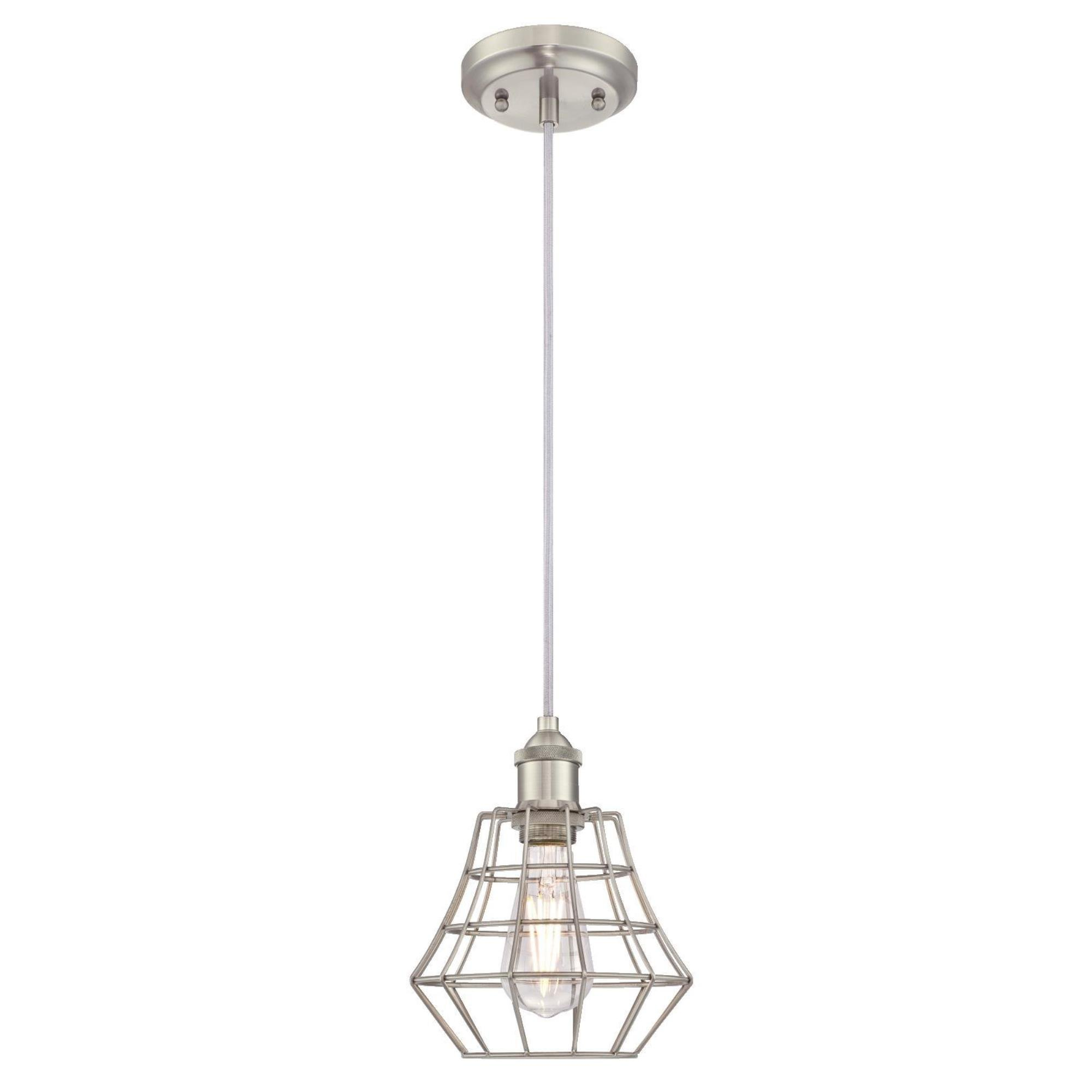 Westinghouse 6337200 Nathaniel One-Light Indoor Mini Pendant, Brushed Nickel Finish with Angled Bell Cage Shade