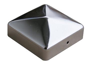 Capuchon de protection pour poteau en forme de pyramide galvanis/é 91 x 91 mm