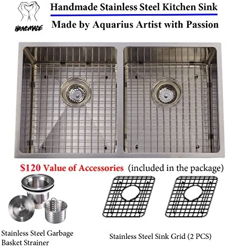 Unbeatable Price Package Deal Aquarius 16 gauge Double Bowl Hand Made Square Stainless Steel Undermount Kitchen Sink Package Sink 2 Grids Strainer
