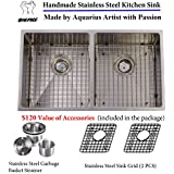 Unbeatable Package Value Extra Thick 16 Gauge Hand Made Undermount Stainless Steel Kitchen Sink Grid Strainer...