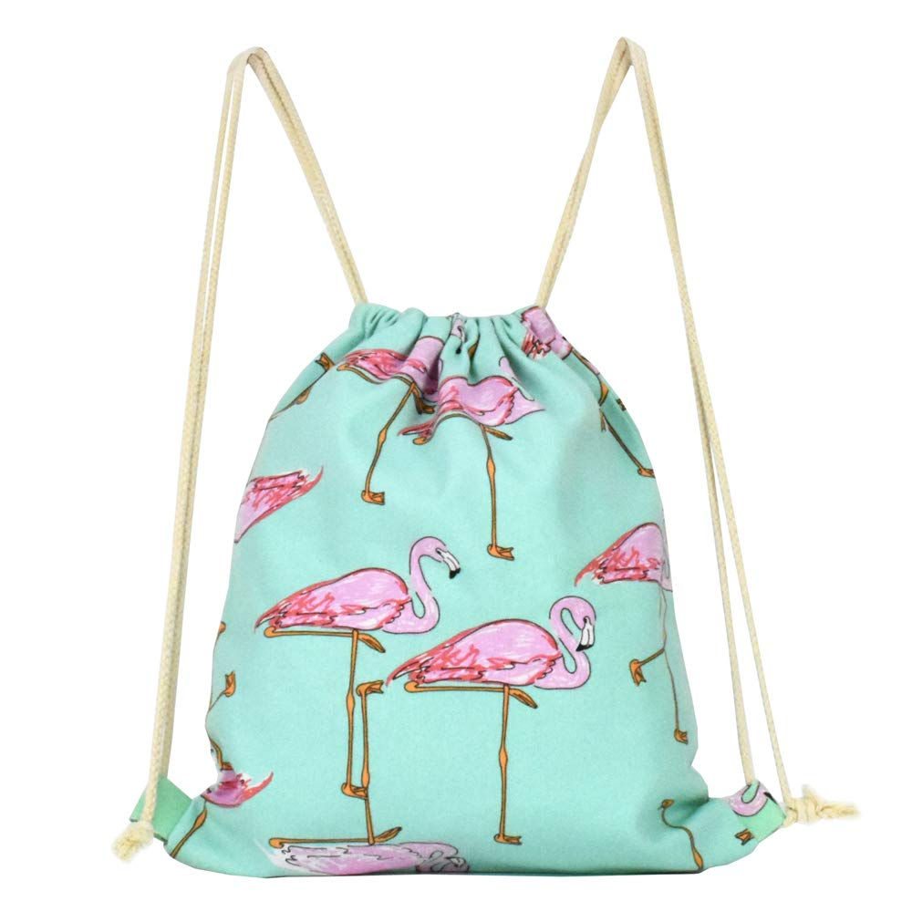 Lacheln Canvas Drawstring Backpack Travel Sackpack Bag Gym Outdoor Sports Portable Daypack for Girl Boys Woman Female Cartoon Flamingo
