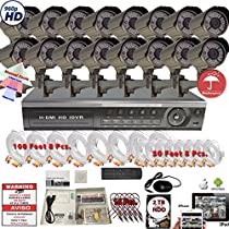 Evertech 16 Ch Video Security System with 32 Channel 1080N DVR, 16 Weatherproof HD Cameras, Indoor & Outdoor, Night Vision, Motion Detection, with 2TB HDD Kit