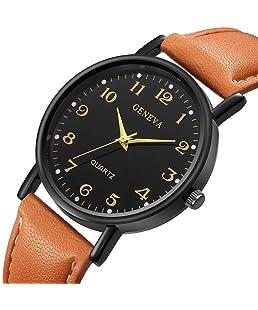 LuckUK❤ Clearance Men Watches,Boy Watches,Sport Watches,Digital Watches,Men's Stainless Steel Case Leather Watch Strap Analog Quartz Watch Sport Watch Wrist Watch (C)