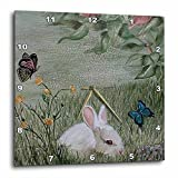 3dRose dpp_44347_1 Bunny Rabbit in Grass with Butterflies Flying Nearby Wall Clock, 10 by 10-Inch Review