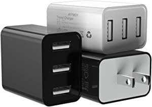Wall Charger, AYNKH 3Pack 2.4A 3-Port USB Plug Cube Portable Wall Charger Plug for iPhone Xs/XS Max/XR/X/8/7/6/Plus, iPad Pro/Air 2/Mini 2, Galaxy9/8/7, Note9/8, LG, Nexus and More (2black+1white)