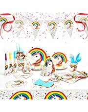 Ucradle 90 Stück Einhorn Party Set, Geburtstag Geschirr Set mit Banner, Party Supplies Einweg Tischdeko, 6 Kinder Geburtstag für Jungen Mädchen Geburtstagsfeier, Baby Shower Party Deko, Weiß